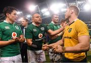 26 November 2016; Ireland captain Rory Best (C) with David Pocock of Australia after the Autumn International match between Ireland and Australia at the Aviva Stadium in Dublin. Photo by Brendan Moran/Sportsfile