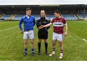 27 November 2016; Team captains Diarmuid Connolly of St. Vincent's and Shane Mulligan of St. Columbas with referee Davey Moore ahead of the AIB Leinster GAA Football Senior Club Championship Semi-Final game between St. Columbas and St. Vincent's at Glennon Bros Pearse Park in Longford. Photo by Ramsey Cardy/Sportsfile