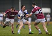 27 November 2016; Enda Varley of St. Vincent's in action against James Mooney, left, and Simon Cadam of St. Columbas during the AIB Leinster GAA Football Senior Club Championship Semi-Final game between St. Columbas and St. Vincent's at Glennon Bros Pearse Park in Longford. Photo by Ramsey Cardy/Sportsfile