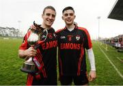 27 November 2016; Kenmare captain Stephen O'Brien and John Mark Foley celebrate with the cup after the AIB Munster GAA Football Intermediate Club Championship Final between Kenmare and Adare at Mallow GAA Complex in Mallow, Co Cork. Photo by Diarmuid Greene/Sportsfile