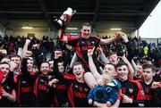 27 November 2016; Kenmare captain Stephen O'Brien is held aloft by team-mates as they celebrate with the cup after the AIB Munster GAA Football Intermediate Club Championship Final between Kenmare and Adare at Mallow GAA Complex in Mallow, Co Cork. Photo by Diarmuid Greene/Sportsfile