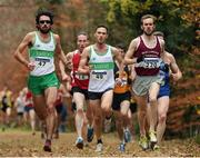 27 November 2016; Eventual winner Mark Christie, right, from Mullingar Harriers, runs alongside three-time reigning winner Mick Clohisey, left, from Raheny Shamrock A.C., who finished second, during the Senior Men's race in the Irish Life Health National Cross Country Championships at the National Sports Campus in Abbotstown, Co Dublin. Photo by Cody Glenn/Sportsfile