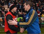 27 November 2016; Corofin manager Kevin O'Brien, right, shakes hands with St Brigid's joint manager Frankie Dolan at the end of the AIB Connacht GAA Football Senior Club Championship Final game between St Brigid's and Corofin at Páirc Seán Mac Diarmada in Carrick-on-Shannon, Co Leitrim. Photo by David Maher/Sportsfile