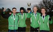 27 November 2016; Raheny Shamrock, left to right, Conor Dooney, Mick Clohisey, Mark Kirwan and Kevin Dooney, with the trophy after they won the Senior Men's Club Championship for the first time in club history during the Irish Life Health National Cross Country Championships at the National Sports Campus in Abbotstown, Co Dublin. Photo by Cody Glenn/Sportsfile