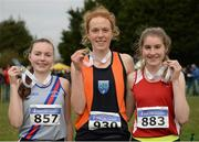 27 November 2016; Top three finishers in the Under 18 Girls' race, from left, second place Josie McCann, Dundrum South Dublin A.C., first place Emma O'Brien, Sli Cualann A.C,  and third place Stephanie Cotter, West Muskerry A.C. during the Irish Life Health National Cross Country Championships at the National Sports Campus in Abbotstown, Co Dublin.  Photo by Cody Glenn/Sportsfile