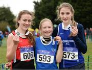 27 November 2016; Top three finishers in the Under 14 Girls' race, from left, second place Cara Lafferty, City of Derry A.C., first place Amy Hayde, Newport A.C., and third place Aine Kirwan, Thompsontown A.C., during Irish Life Health National Cross Country Championships at the National Sports Campus in Abbotstown, Co Dublin. Photo by Cody Glenn/Sportsfile