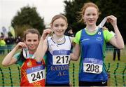 27 November 2016; Top three finishers in the Under 12 Girls' race, from left, second place Lauren Madine, East Down A.C., first place Sophie Quinn, Ratoath A.C., and third place Keelin Collins, Celtic DCH A.C., during the Irish Life Health National Cross Country Championships at the National Sports Campus in Abbotstown, Co Dublin. Photo by Cody Glenn/Sportsfile