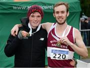 27 November 2016; Mullingar Harriers team-mates Jack O'Leary, left, who won the Junior Men's race and Mark Christie, who won the Senior Men's race during the Irish Life Health National Cross Country Championships at the National Sports Campus in Abbotstown, Co Dublin. Photo by Cody Glenn/Sportsfile