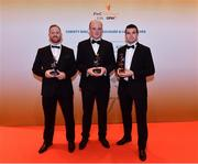 3 November 2017; Armagh hurlers, from left, Nathan Curry, Artie McGuinness and John Corvan, after collecting their Nickey Rackard Champion 15 award during the PwC All Stars 2017 at the Convention Centre in Dublin. Photo by Sam Barnes/Sportsfile