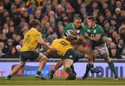 26 November 2016; Simon Zebo of Ireland is tackled by David Pocock of Australia during the Autumn International match between Ireland and Australia at the Aviva Stadium in Dublin. Photo by Brendan Moran/Sportsfile