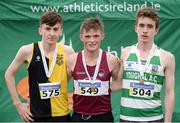 27 November 2016; Top three finishers in the Junior Men's race, from left, second place Peter Lynch, KCH, first place Jack O'Leary, Mullingar Harriers, and third place Fergal Curtin, Youghal A.C., during the Irish Life Health National Cross Country Championships at the National Sports Campus in Abbotstown, Co Dublin. Photo by Cody Glenn/Sportsfile