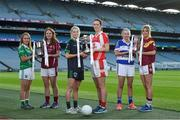 28 November 2016; Senior Club finalists, centre, Sarah Brophy, captain of Foxrock Cabinteely GAA Club, Co. Dublin with Amanda Casey, captain of Donaghmoyne GAA Club, Co. Monaghan with Intermediate finalists, left, Louise Kenny, captain of Shane O'Neills GAA Club, Co. Armagh, and Niamh Duggan, captain of Annaghdown GAA Club, Co. Galway and Junior finalists, right, Aisling Judge captain of Kinsale GAA Club, Co. Cork and Eadaoinn McGuinness, captain of St. Maurs GAA Club, Co. Dublin ahead of their Ladies Football All Ireland Club Championship Finals during a Captain's Day at Croke Park in Dublin. Photo by Matt Browne/Sportsfile