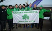 27 November 2016; Members of the Raheny Shamrock Athletic Club celebrate after winning their first-ever Senior Men's Club Championship during the Irish Life Health National Cross Country Championships at the National Sports Campus in Abbotstown, Co Dublin. Photo by Cody Glenn/Sportsfile