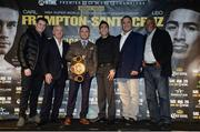29 November 2016; Pictured from left to right, Shane McGuigan, Barry McGuigan, Carl Frampton, WBA featherweight champion, Leo Santa Cruz, Richard Schaefer and Sam Watson after a Carl Frampton v Leo Santa Cruz press conference at the Europa Hotel in Belfast. Photo by Oliver McVeigh/Sportsfile