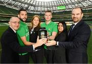 2 December 2016; Shamrock Rovers star David Webster and new signing Paul Corry took part in a Sports Nutrition panel discussion, hosted in the Aviva Stadium, by global nutrition company Herbalife (NYSE: HLF) who offer a range of WADA approved sports performance products. Pictured are, from left, Dr Andrea Bertocco, Director Scientific Affairs with Herbalife, David Webster, Violetta Zlatareva, Country Snr Director UK, EI, IC with Herbalife, Paul Corry, Anu Basra, Senior Sales Strategy Support & Events Manager, Herbalife and Prof Carel le Roux, the Head of Experimental Pathology at University College Dublin. Photo by Ramsey Cardy/Sportsfile