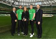 2 December 2016; Shamrock Rovers star David Webster and new signing Paul Corry took part in a Sports Nutrition panel discussion, hosted in the Aviva Stadium, by global nutrition company Herbalife (NYSE: HLF) who offer a range of WADA approved sports performance products. Pictured are, from left, Dr Andrea Bertocco, Director Scientific Affairs with Herbalife, David Webster, Violetta Zlatareva, Country Snr Director UK, EI, IC with Herbalife, Paul Corry, and Prof Carel le Roux, the Head of Experimental Pathology at University College Dublin. Photo by Ramsey Cardy/Sportsfile