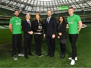 2 December 2016; Shamrock Rovers star David Webster and new signing Paul Corry took part in a Sports Nutrition panel discussion, hosted in the Aviva Stadium, by global nutrition company Herbalife (NYSE: HLF) who offer a range of WADA approved sports performance products. Pictured, from left is David Webster, Dr Andrea Bertocco, Director Scientific Affairs with Herbalife, Violetta Zlatareva, Country Snr Director UK, EI, IC with Herbalife, Prof Carel le Roux, the Head of Experimental Pathology at University College Dublin, Anu Basra, Senior Sales Strategy Support & Events Manager, Herbalife and Paul Corry. Photo by Ramsey Cardy/Sportsfile