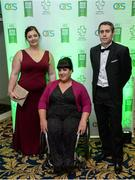 2 December 2016; Pictured left to right, Orla Barry, from Ladysbridge, Co Cork, Loraine Regan, from Kilcormac, Co. Offaly, and Jason Smyth, from Derry City, arrive at the OCS Irish Paralympic Awards at the Ballsbridge Hotel in Dublin. Photo by Cody Glenn/Sportsfile