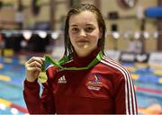 2 December 2016; Mona McSharry with her  medal after winning the Women's 400M freestyle at the Irish Short Course Swimming Championships at Lagan Valley Leisureplex in Lisburn, Co Antrim. Photo by Oliver McVeigh/Sportsfile