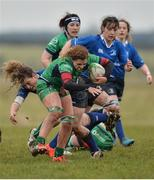 3 December 2016; Grainne Egan of Connacht is tackled by Jenny Murphy of Leinster during the Women's Interprovincial Rugby Championship Round 1 game between Connacht and Leinster at Tuam RFC in Tuam, Co. Galway. Photo by Ray Ryan/Sportsfile