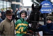3 December 2016; Jockey Patrick Mullins with his father/trainer Willie Mullins after winning the Kettles Hotel Supporting Fingal Ravens GAA Fundraiser (Pro/Am) Flat Race on Bon Papa during the Fairyhouse Winter Festival at Fairyhouse, Co. Meath. Photo by Cody Glenn/Sportsfile