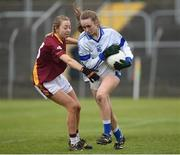3 December 2016; Dara Tyner of Kinsale in action against Leona Halford of St. Maurs during the All Ireland Junior Club Championship Final 2016 match between Kinsale and St. Maurs at Dr Cullen Park in Carlow. Photo by Matt Browne/Sportsfile