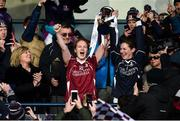 4 December 2016; Niamh Duggan, left, and Mary Kate Killilea of Annaghdown lift the cup following All Ireland Ladies Football Intermediate Club Championship Final 2016 match between Annaghdown and Shane O'Neills at Parnell Park in Dublin. Photo by Sam Barnes/Sportsfile