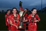 4 December 2016; Shelbourne FC's Leanne Kiernan, left, Sarah Rowe, centre, and Alex Kavanagh following their victory in the Continental Tyres Women's National League game between Peamount United and Shelbourne FC at Greenogue in Newcastle, Dublin. Photo by Ramsey Cardy/Sportsfile