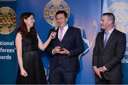 3 December 2016; MC Joanne Cantwell interviews referees Brian Gavin, Offaly,and James Owens, Wexford, right, at the GAA National Referees' Awards Banquet 2016 at Croke Park in Dublin. Photo by Cody Glenn/Sportsfile