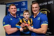 4 December 2016; Leinster players Tadhg Furlong, left, and Josh van der Flier, right, with young David Quinn, age 7, from Wicklow, during the Bank of Ireland Leinster Towns Cup Draw at Wicklow RFC in Wicklow Town, Co Wicklow. Photo by Seb Daly/Sportsfile