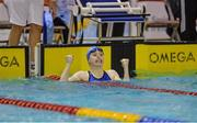 4 December 2016; Jane Roberts of UCD SC reacts after winning the Womens 100M backstroke at the Irish Short Course swimming Championships at Lagan Valley Leisureplex, Lisburn, Co Antrim. Photo by Oliver McVeigh/Sportsfile