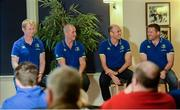 8 December 2016; Ahead of the back to back Champions Cup games against Northampton Saints and the Christmas Guinness PRO12 fixtures, the Leinster Rugby coaching team of Leo Cullen, Stuart Lancaster, Girvan Dempsey and John Fogarty met Season Ticket Holders at an event in the RDS Arena as a thank you for their continued support of the team. Pictured are Leinster coaches, from left, Leo Cullen, head coach, Stuart Lancaster, senior coach, Girvan Dempsey, backs coach, and John Fogarty, scrum coach. RDS, Ballsbridge, Dublin. Photo by Piaras Ó Mídheach/Sportsfile