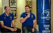 8 December 2016; Ahead of the back to back Champions Cup games against Northampton Saints and the Christmas Guinness PRO12 fixtures, the Leinster Rugby coaching team of Leo Cullen, Stuart Lancaster, Girvan Dempsey and John Fogarty met Season Ticket Holders at an event in the RDS Arena as a thank you for their continued support of the team. Pictured are Leinster backs coach, Girvan Dempsey, left, and Leinster scrum coach John Fogarty. RDS, Ballsbridge, Dublin. Photo by Piaras Ó Mídheach/Sportsfile