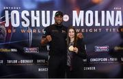 8 December 2016; Anthony Joshua and Katie Taylor following the Anthony Joshua and Eric Molina press conference at the Radisson Hotel in Manchester, England. Photo by Stephen McCarthy/Sportsfile
