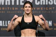 9 December 2016; Katie Taylor during the official weigh-in at the Victoria Warehouse in Manchester prior to her fight with Viviane Obenauf on the Anthony Joshua v Eric Molina fight night at the Manchester Arena in Manchester, England. Photo by Stephen McCarthy/Sportsfile