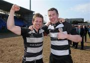 1 May 2011; Old Belvedere RFC players Andy Dunne, left, and Conal Keane celebrate after the game. Ulster Bank League Division 1 Final, Cork Constitution RFC v  Old Belvedere RFC, Donnybrook Stadium, Dublin. Picture credit: Matt Browne / SPORTSFILE