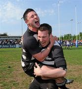 1 May 2011; Old Belvedere RFC players David Morgan, left, and Conal Keane celebrate after the game. Ulster Bank League Division 1 Final, Cork Constitution RFC v  Old Belvedere RFC, Donnybrook Stadium, Dublin. Picture credit: Matt Browne / SPORTSFILE