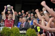 1 May 2011; Galway captain Colin Forde celebrates with the cup at the end of the game. Cadbury GAA All-Ireland Football U21 Championship Final, Cavan v Galway, Croke Park, Dublin. Picture credit: David Maher / SPORTSFILE