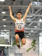 10 December 2016; Zachary Elliott of England, from Queen Mary's G.S., competes in the Under 16 Boys long jump event at the Combined Events Schools International games at Athlone IT in Co. Westmeath. Photo by Cody Glenn/Sportsfile