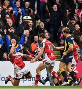 10 December 2016; Charles Piutau of Ulster celebrates after scoring his side's sixth try during the European Rugby Champions Cup Pool 5 Round 3 match between Ulster and ASM Clermont Auvergne at the Kingspan Stadium in Belfast. Photo by Ramsey Cardy/Sportsfile