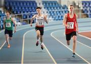 10 December 2016; Harvey Reynolds of Wales, from Caldicot Comprehensive, on his way to winning the Under 16 Boys 200m event ahead of Zachary Elliott of England, centre, from Queen Mary's G.S., Walsall, and Ethan Williamson of Ireland, from Portadown College, at the Combined Events Schools International games at Athlone IT in Co. Westmeath. Photo by Cody Glenn/Sportsfile