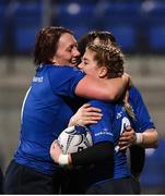 10 December 2016; Ailsa Hughes of Leinster is congratulated by Lindsay Peat and Carmela Morey after scoring a try against Ulster during the Women's Interprovincial Rugby Championship Round 2 match between Leinster and Ulster at Donnybrook Stadium in Dublin. Photo by Matt Browne/Sportsfile