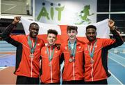 10 December 2016; The gold medal-winning Under 16 Boys team from England made up of, from left, Dominic Chiedu Ogbechie, from Cardinal Vaughan Memorial School, Zachary Elliott, from Queen Mary's G.S., Walsall, Rory Howorth, from St Augustine's College, Trowbridge, and Theophilus Adesina, from William Edwards School, Grays, at the Combined Events Schools International games at Athlone IT in Co. Westmeath. Photo by Cody Glenn/Sportsfile