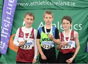 11 December 2016; Winner of the Boys U11 1500m race Thomas Bolton, centre, Metro/St Brigid's A.C, Co. Dublin, with runners up, second place Ryan Jenkins, left, and third place Philip McCartan, Mullingar Harriers A.C, Co. Westmeath, during the Irish Life Health Novice & Juvenile Uneven Age National Cross Country Championships at Dundalk I.T. in Co. Louth. Photo by Seb Daly/Sportsfile