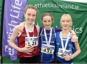 11 December 2016; Winner of the Girls U13 2500m race Fiona Dillon, centre, Thomastown A.C, Co. Galway, with runners up, second place Hannah Breen, left, Crookstown Millview A.C, Co, Kildare, and third place Emma Landers, right, Youghal A.C, Co. Cork, during the Irish Life Health Novice & Juvenile Uneven Age National Cross Country Championships at Dundalk I.T. in Co. Louth. Photo by Seb Daly/Sportsfile