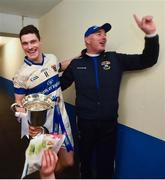 11 December 2016; St Vincent's manager Tommy Conroy and captain Diarmuid Connolly with the cup following their victory in the AIB GAA Football Senior Club Championship Final match between Rhode and St Vincent's at O'Moore Park in Portlaoise, Co. Laois. Photo by Ramsey Cardy/Sportsfile