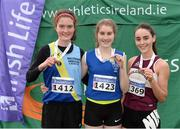 11 December 2016; Winner of the Girls U19 4000m race Stephanie Cotter, centre, West Muskerry A.C, Co. Cork, with runners up, second place Avril Deegan, left, Ballyroan & Abbeyleix A.C, Co. Laois, and third place Claire Fagan, right, Mullingar Harriers A.C, Co. Westmeath during the Irish Life Health Novice & Juvenile Uneven Age National Cross Country Championships at Dundalk I.T. in Co. Louth. Photo by Seb Daly/Sportsfile