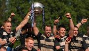 1 May 2011; Old Belvedere players celebrate with the trophy. Ulster Bank League Division 1 Final, Cork Constitution RFC v  Old Belvedere RFC, Donnybrook Stadium, Dublin. Picture credit: Stephen McCarthy / SPORTSFILE
