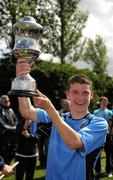8 May 2011; Belvedere FC captain Darragh Lenihan with the Paul McGrat Cup. Dublin and District Schoollboys League Finals, Paul McGrath Cup Final, Belvedere FC v St Joseph's Boys FC, A.U.L Complex, Clonshaugh, Dublin. Picture credit: Ray McManus / SPORTSFILE