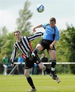 8 May 2011; Pierce Sweeney, Belvedere FC, in action against Paul Devereaux, St Joseph's Boys FC.Dublin and District Schoollboys League Finals, Paul McGrath Cup Final, Belvedere FC v St Joseph's Boys FC, A.U.L Complex, Clonshaugh, Dublin. Picture credit: Ray McManus / SPORTSFILE